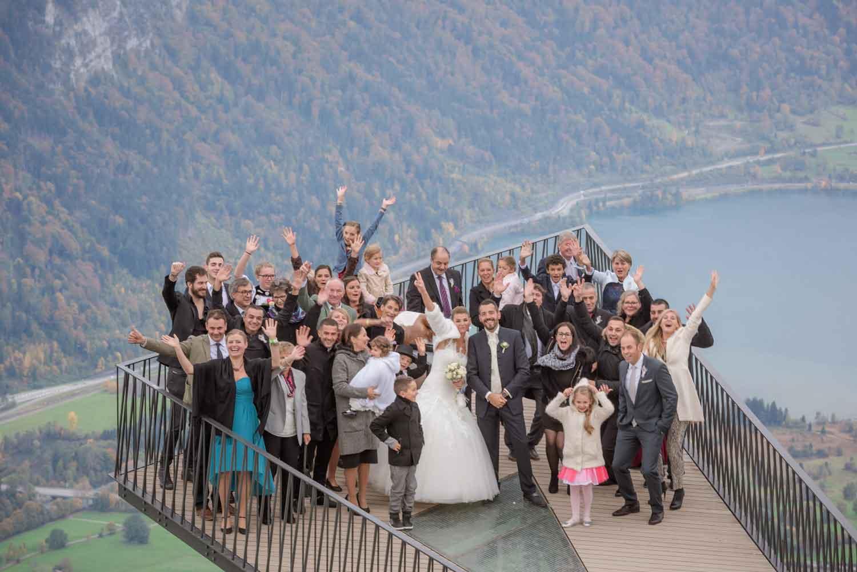 Photographer for wedding on the Harder Kulm. A restaurant on a mountain overlooking Interlaken, Switzerland
