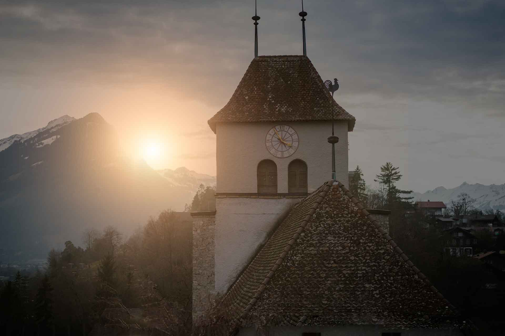 Ringgenberg Church at sunset