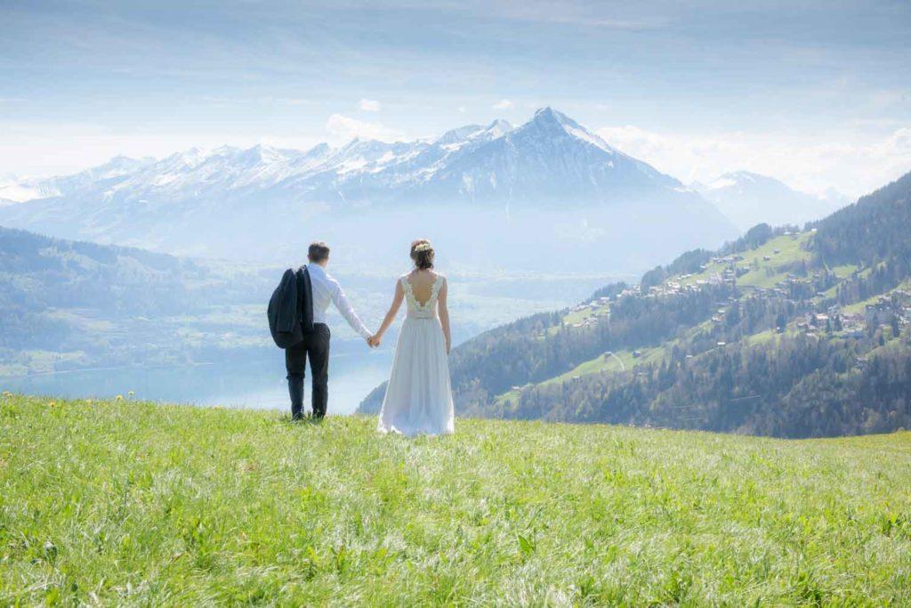 Russian couple after wedding photo shoot in Interlaken region,