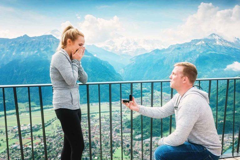 Wedding proposal on the Harder Kulm