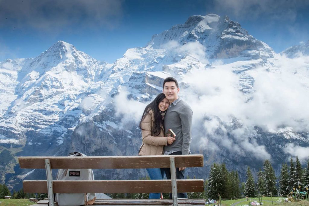 surprise engagement in Mürren