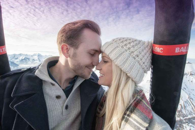 Wedding proposal in a hot air balloon