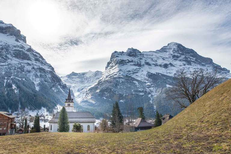 Grindelwald with the Eiger mountain in the background