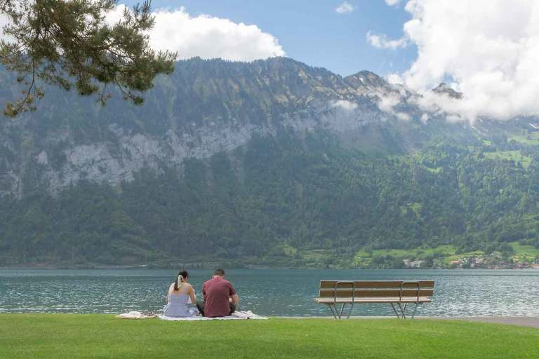 Surprise Engagement by Thunersee lake
