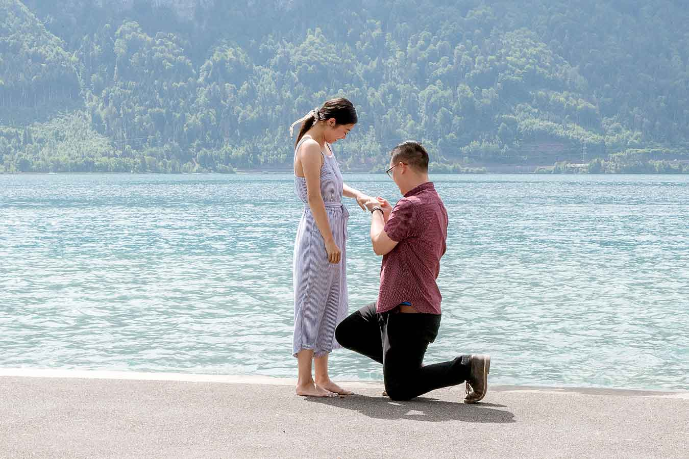 Surprise wedding proposal at lake Thun