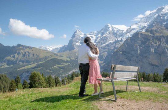 Surprise marriage proposal in Murren, Sweitzerland