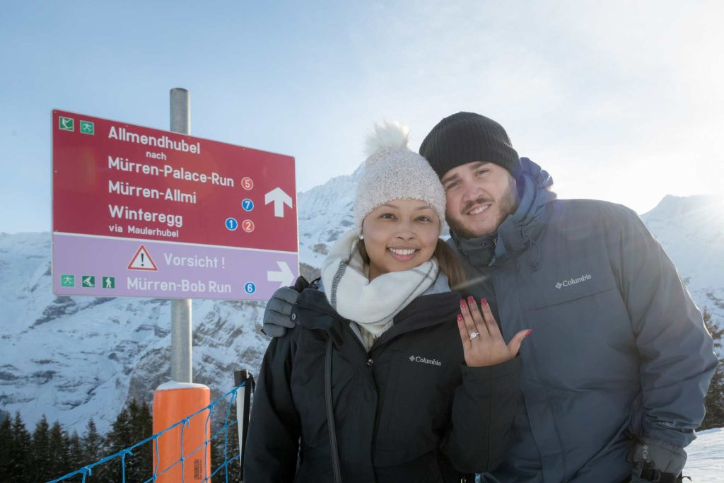 Surprise Engagement in Mürren, Switzerland