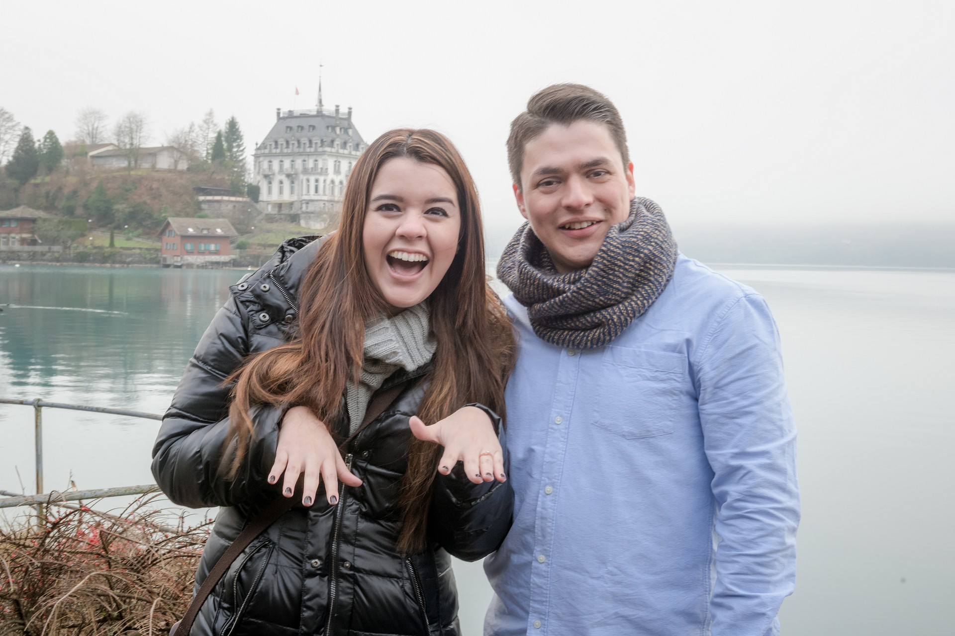 Surprise Engagement in Iseltwald, Switzerland