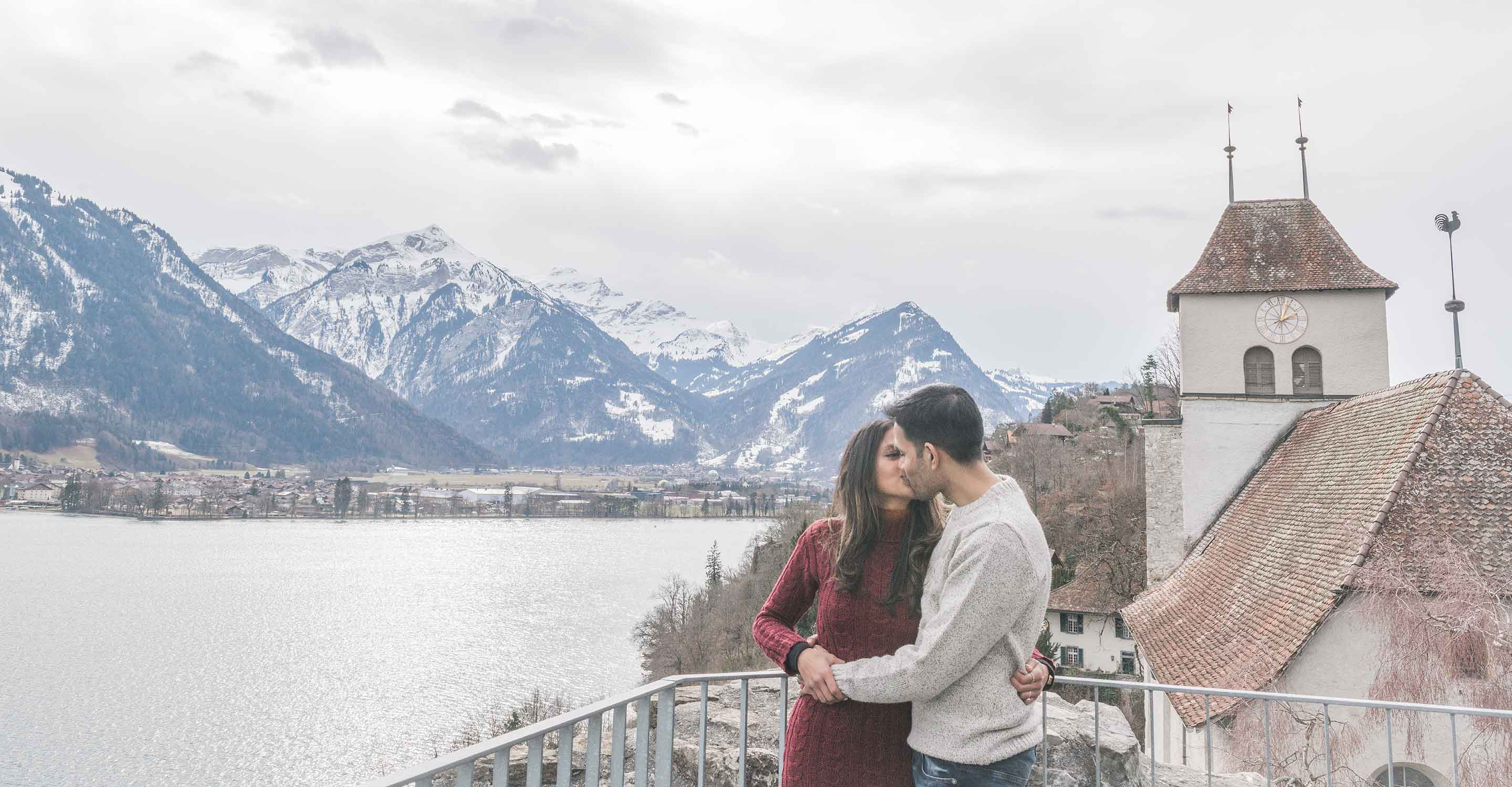 Surprise engagement on Lake Thun, Interlaken