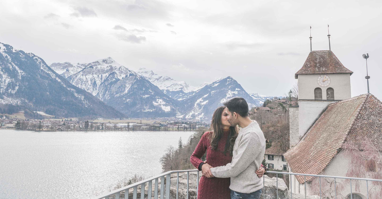 Surprise engagement on Lake Thun, Interlaken