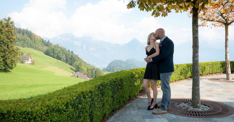 Surprise wedding proposal near Lucerne, Switzerland