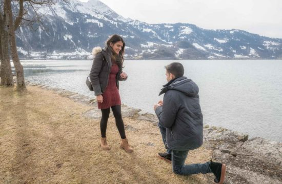 surprise engagement lake thun