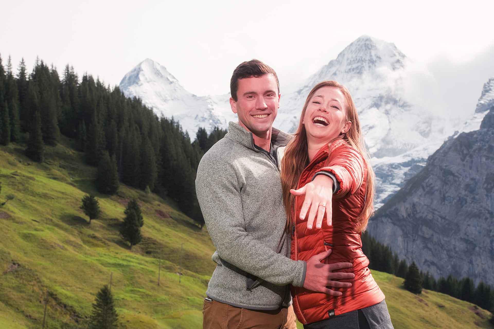 Surprise Engagement in Mürren, Switzerland