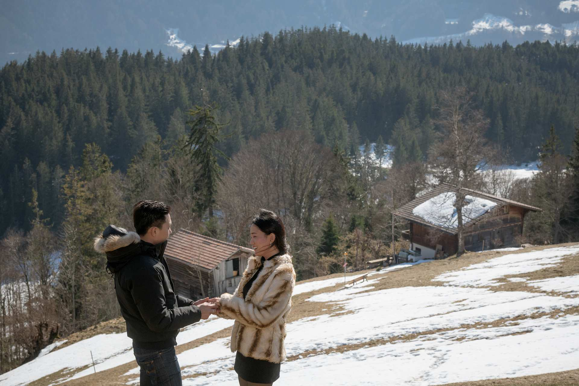 Surprise engagement in the Swiss Alps