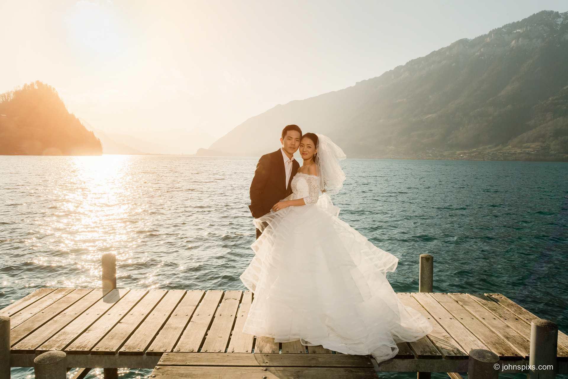 Before the wedding photo shoot by the lake near Interlaken, Switzerland