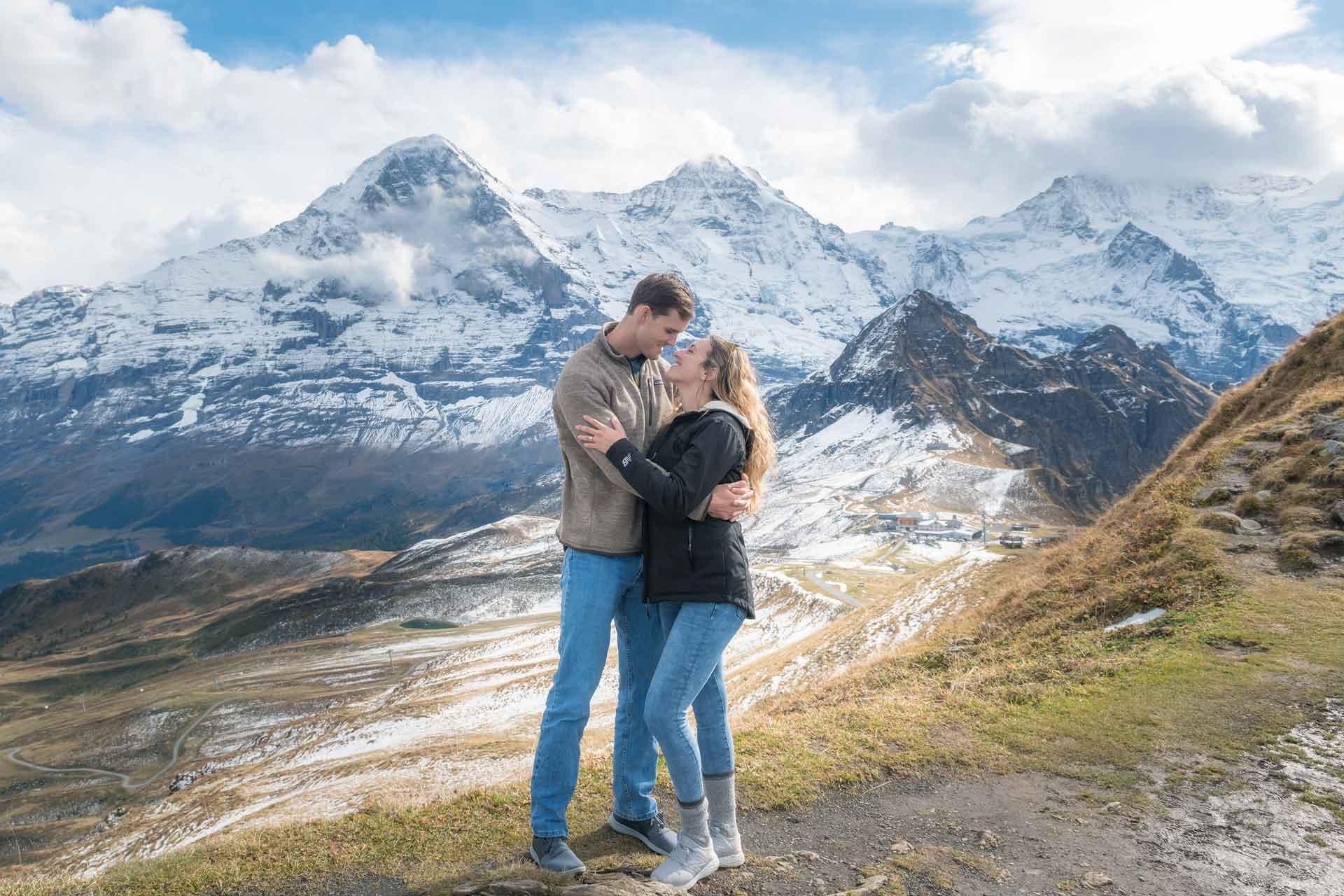engagement photo shoot swiss alps