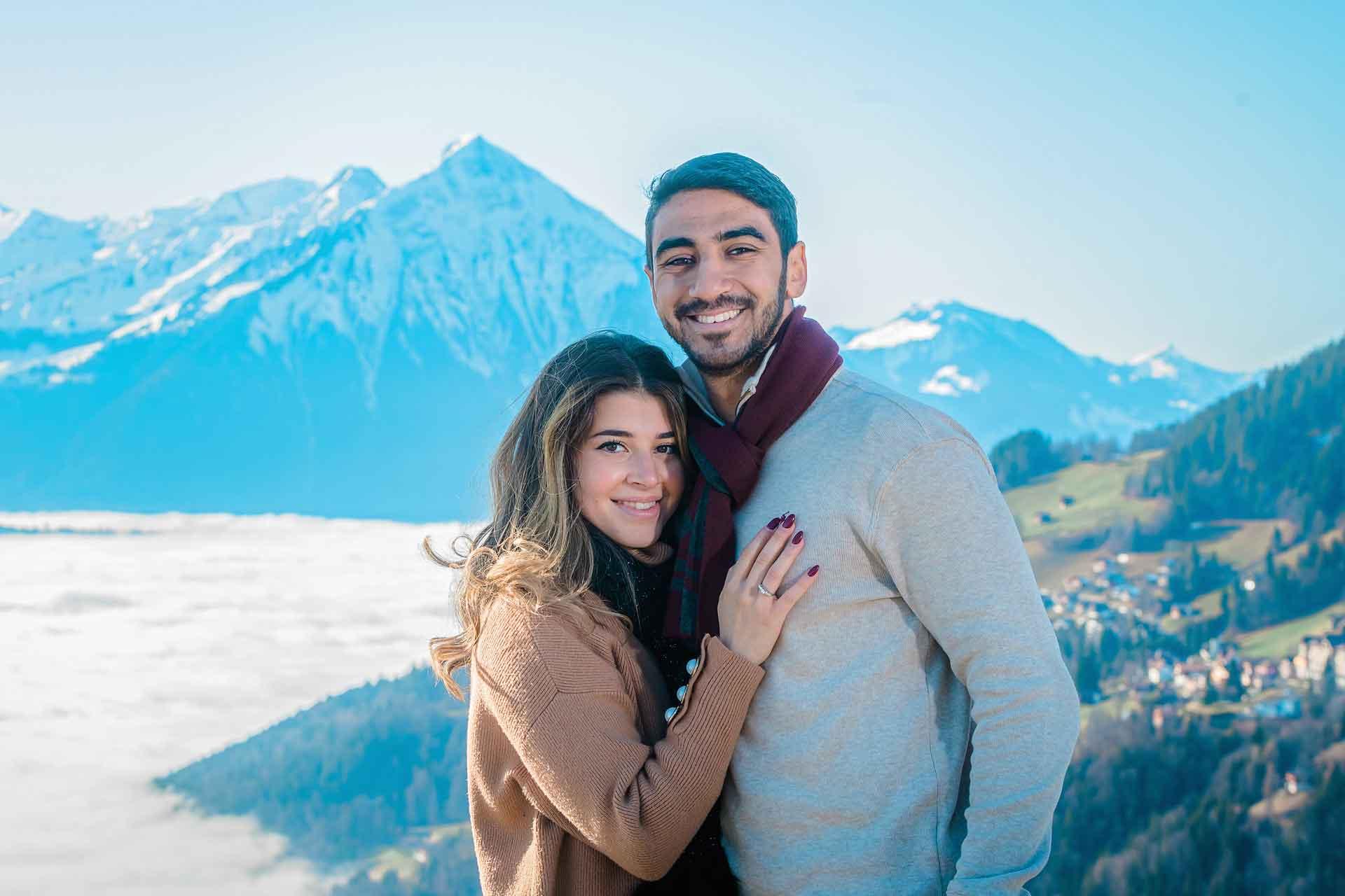 Interlaken photographer john wisdom surprise engagement swiss alps