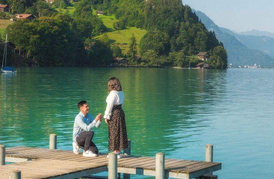 Surprise marriage proposal in Iseltwald, Switzerland