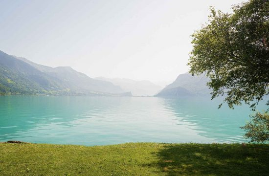 Beautiful location for an after wedding photo shoot by a Swiss lake