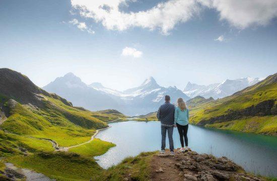 Marriage proposal at Bachalpsee Lake